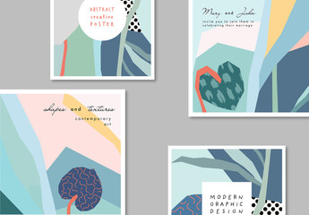 Set of Card Layouts with Abstract Floral Elements