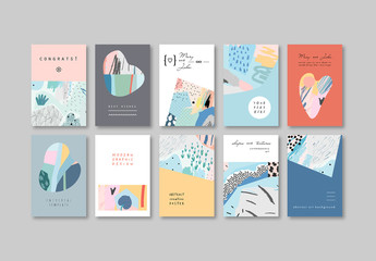 Set of Poster Layouts with Abstract Patterns