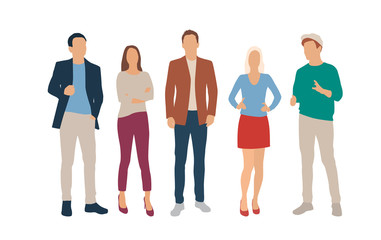 Set of men and women, different colors, cartoon character, group of silhouettes standing business people, flat icon design concept isolated on white background Fotobehang