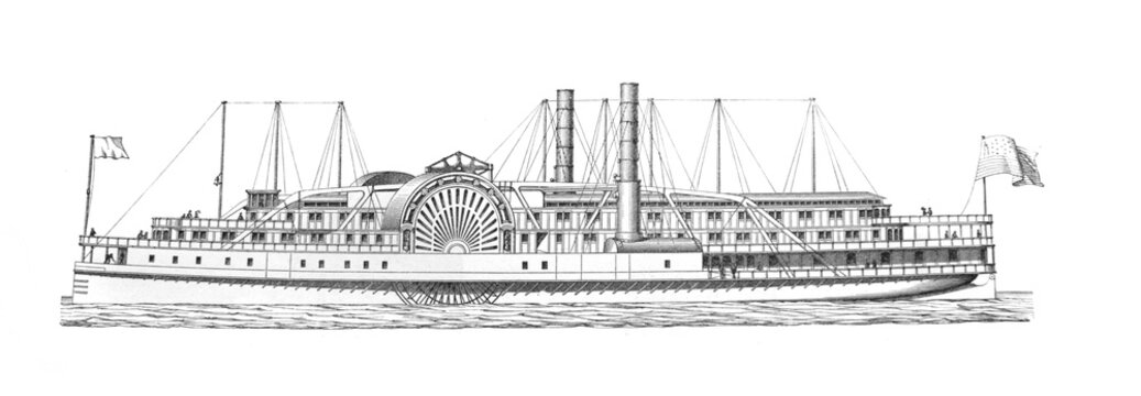 The steamboat engraved in the old book Meyers Lexicon, vol. 4, 1897, Leipzig