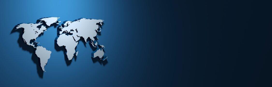 bannière avec planisphère 3D sur fond bleu