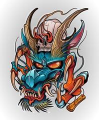 japanese dragon demon with human skull, tattoo