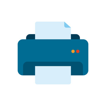 Isolated printer with data document flat style icon vector design