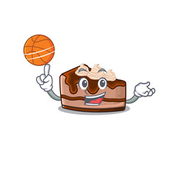 A mascot picture of chocolate cheesecake cartoon character playing basketball