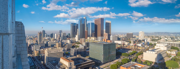 Beautiful sunset of Los Angeles downtown skyline in CA Wall mural