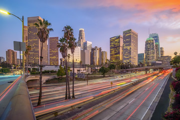 Foto op Aluminium Los Angeles Beautiful sunset of Los Angeles downtown skyline