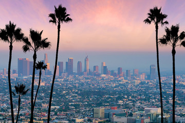 Fototapete - Beautiful sunset of Los Angeles downtown skyline