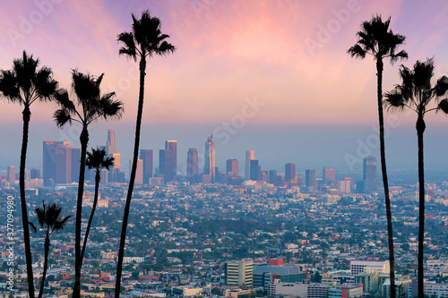 Fotomurales Beautiful sunset of Los Angeles downtown skyline