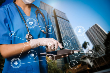 Medical technology concept. Doctor working with Infectious doctor exam and screening for novel Coronavirus(2019 nCoV) with VR icon