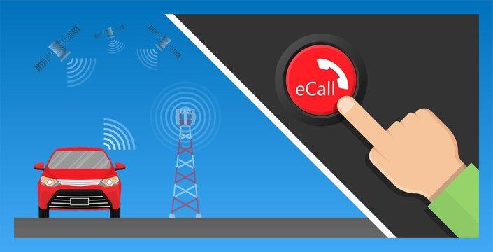 E Call eCall emergency call car crash drive  radio navigation global automated location data rural M2M PSAP save lives position reduce center response radar fatality ADAS V2X