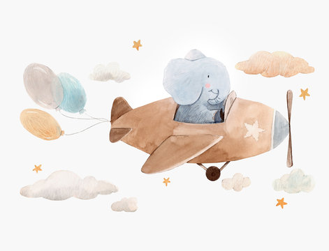 Cute watercolor artwork with baby elephant on the plane with air baloons, clouds and stars. Stock illustration.