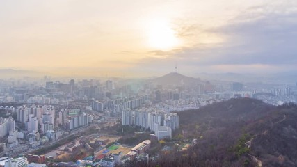 Papier Peint - 4k Time lapse Sunrise of Seoul City Skyline, South Korea