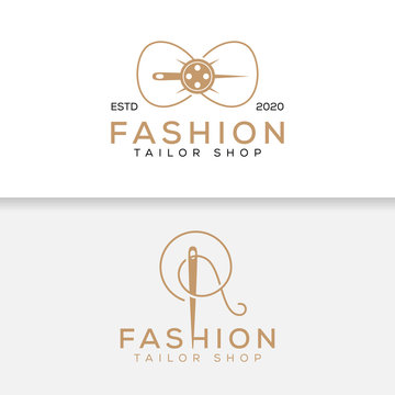 elegant minimalist tailor shop fashion logo design, vector template