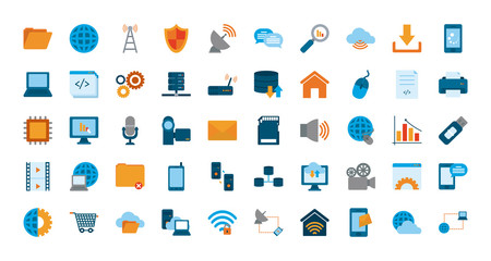 Technology and internet flat style icon set vector design