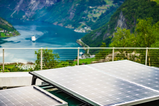 Camper with solar panels on roof, Norway