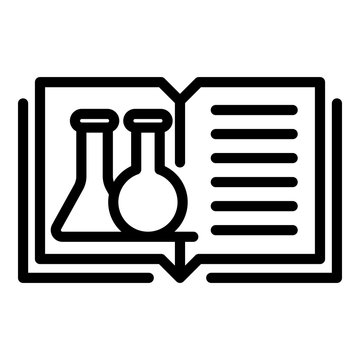 Open book and test tubes icon. Outline open book and test tubes vector icon for web design isolated on white background
