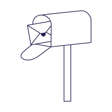 happy valentines day, mailbox mail envelope messsage letter cartoon line style