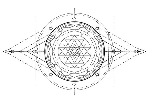 The Sri Yantra or Sri Chakra, form of mystical diagram, Shri Vidya school of Hindu tantra symbol. Sacred geometry vector design element. Vector illustration. Alchemy, occultism, spirituality.
