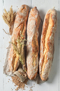 Crunchy french baguettes freshly baked in bakery