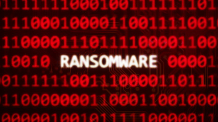 Ransomware text on random binary code red screen - computer technology words series 3D render
