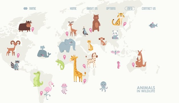Animals world map vector illustration. Landing page for children online educational platform. Cute cartoon animals in wildlife. Geography concept for kids. Fauna of different continents.