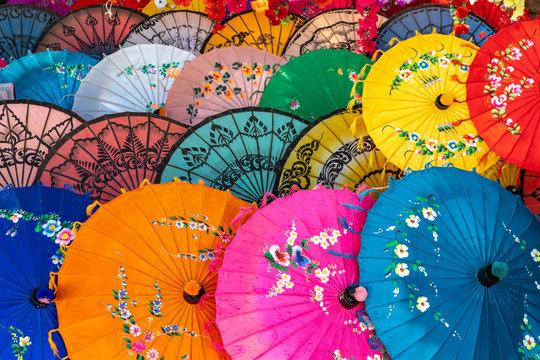 Colourful souvenir umbrellas on sale at Maha Sandar Mahi Pagoda