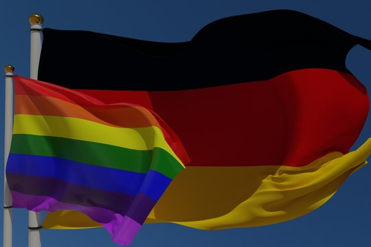 LGBT flag and German flag on a pole waving in the wind together representing rights and pride. 3D rendering.
