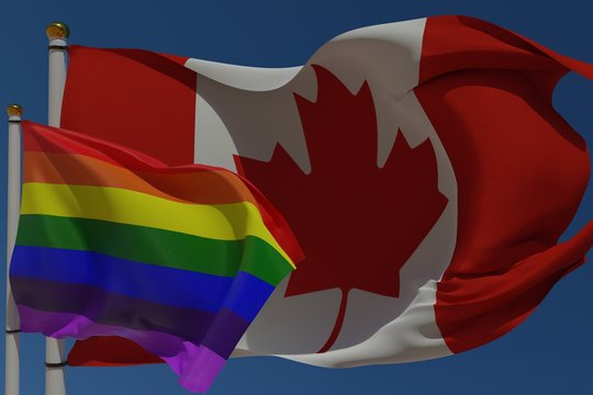 LGBT flag and flag of Canada on a pole waving in the wind together representing rights and pride. 3D rendering.