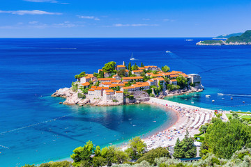 Photo sur Toile Europe Méditérranéenne Sveti Stefan, Montenegro.