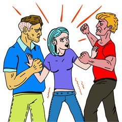 A young woman pulls apart two fighting men. The girl between the two fighting men is trying to stop the fight