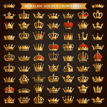 Big set of golden crown icons