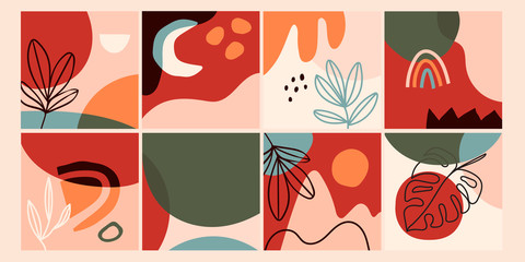 Wall Mural - Set of eight abstract backgrounds. Hand drawn various shapes and doodle objects. Contemporary modern trendy Vector illustrations. Every background is isolated. Pastel colors