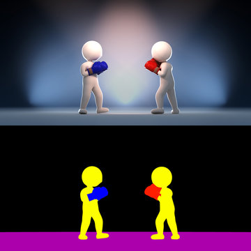 Stickman engage in a gang fight, 3D render