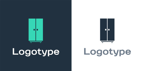 Logotype Wardrobe icon isolated on white background. Logo design template element. Vector Illustration