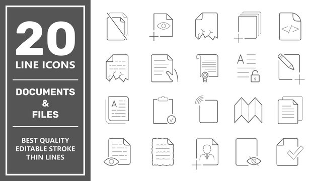 Set of Document Icons. Contains such Icons as Batch Processing, Legal Documents, Clipboard, Download, Document Flow and more. Editable Stroke. EPS 10