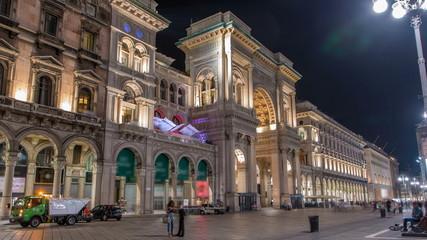Spoed Foto op Canvas Milan Night view of Vittorio Emanuele II Gallery timelapse in Milan, Italy