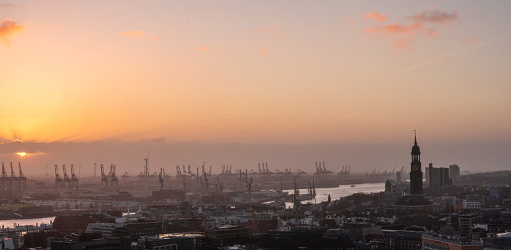Aerial view of the port of Hamburg, Hamburg, Germany