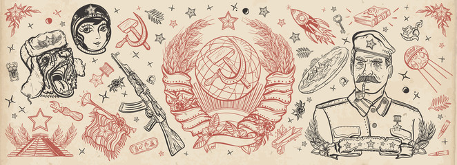 USSR. Old school tattoo collection. Propaganda art. Communism and socialism. State Emblem of Soviet Union, sickle and hammer, Kalashnikov rifle, astronaut, rocket, space satellite