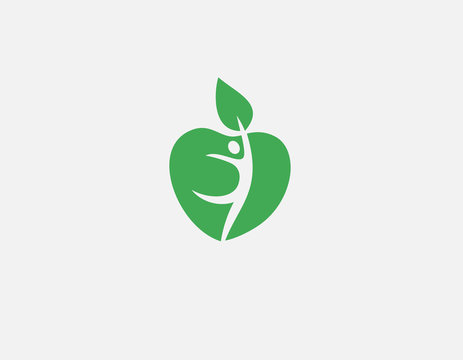 Bright logo icon apple and human figure for your company