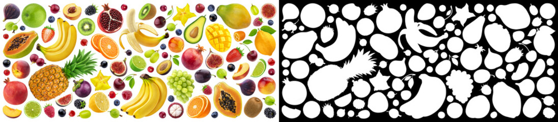 Fruits and berries collection with alpha channel Wall mural