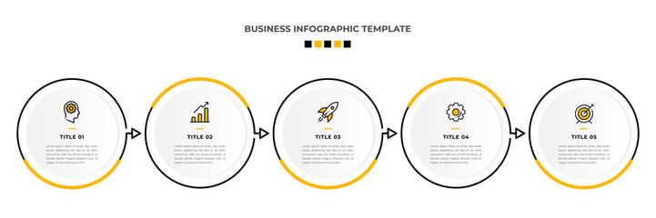 Minimal Modern Minimalist Business Infographics template with circle shape. 5 steps / option timeline with icons. For presentation, process, diagram, workflow, chart. Vector with orange, black