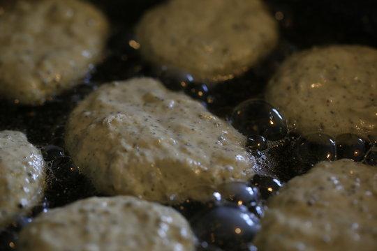 pancakes with pumpkin flour fried