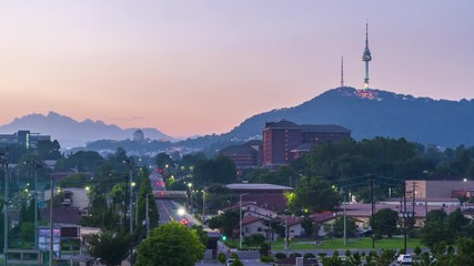 Papier Peint - 4k Time lapse Sunset of Seoul city,South Korea