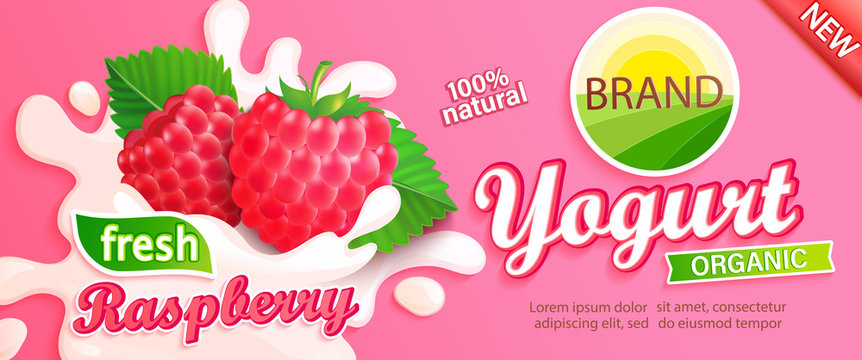 Raspberry Yogurt label. Natural and fresh berries in milk splashes for your brand, logo, emblem, sticker. Organic and sweet dessert. Template for your design.Vector illustration.