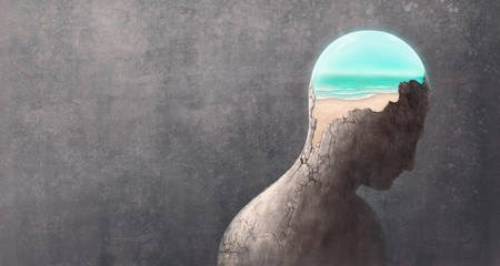 Broken head with the sea, surreal painting