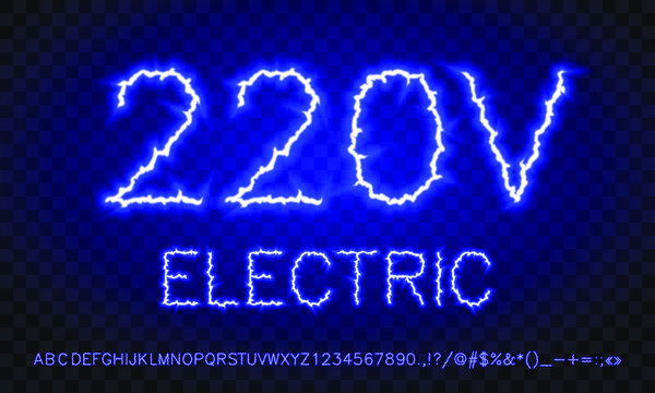 blue electric lightning font on a background with lots of light spots