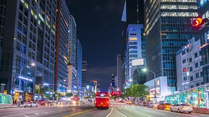 Papier Peint - 4k Time lapse Traffic of Seoul City Skyline,South Korea