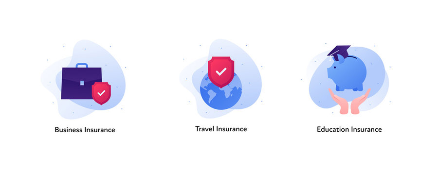 Insurance color icon collection. Business, travel and education concept. Vector flat Illustration set. Briefcase, planet with red shield, hands holding piggybank. Design element for banner, web, ui