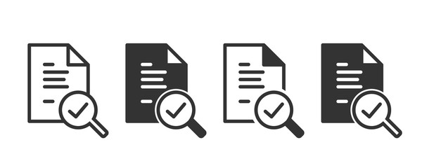 Audit icons in four different versions in a flat design - fototapety na wymiar