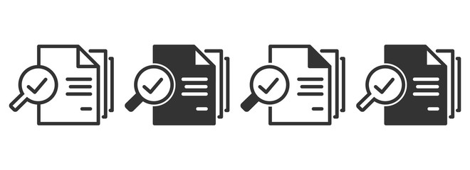 Inspection icons in four different versions in a flat design